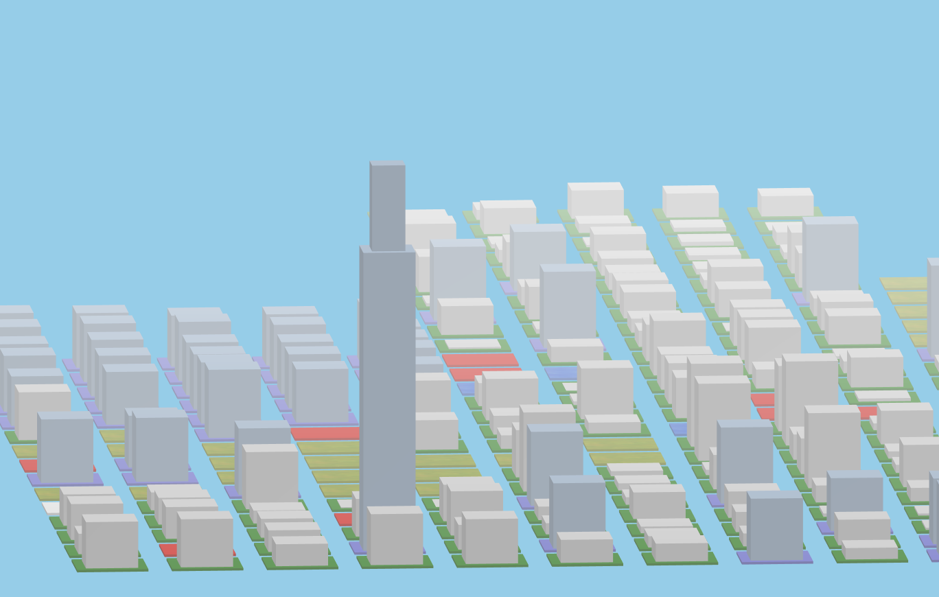 An image of a ThreeJS generated scene, complete with colored zoning tiles and buildings.
